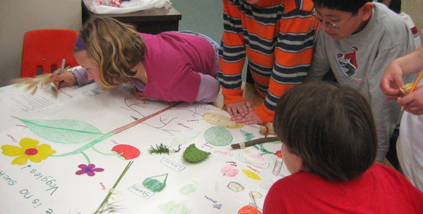 Kids making plant posters